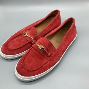 Coach Corey red leather loafers